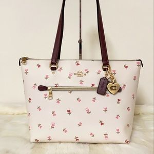2PCS New💃Coach Gallery Tote Heart Floral +Charm